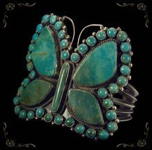 Amazing Turquoise Butterfly Sterling Silver Cuff Bracelet found on Ruby Lane