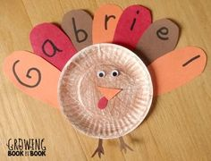 Paper plate turkey with name on feathers for #Thanksgiving . Cute!