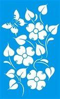 Stencil de Floral com Borboleta 21 x 34cm - ST-027