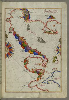 Illuminated Manuscript Map of the Bay of Salonica (Selānīk,Thessalonici) and the western coastline, from Book on Navigation, Walters Art Museum Ms. W.658, fol.52b by Walters Art Museum Illuminated Manuscripts, via Flickr