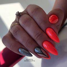 Elegant Nails, Classy Nails, Fancy Nails, Pretty Nails, Summer Nails Almond, Summer Acrylic Nails, Almond Nails Designs Summer, Pink Black Nails, Subtle Nail Art