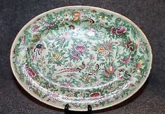 Chinese Antique Celadon Ground Famille Rose Bowl Late Qing Charger ...