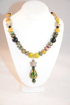 Butterflies and Birds in the Garden Necklace. Buterfly. Pendant. Ruby Zoisite. Cat's Eye. Russian Serpentine. Green. Yellow. Necklace by flashinfashinjewelry. Explore more products on http://flashinfashinjewelry.etsy.com