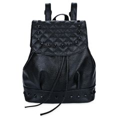3b3c7a9918e7 Casual Pu Leather Rivet Plaid Drawstring Backpack for Women Travel Backpack