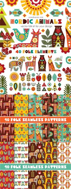 Nordic Animals - folk kit. With this bright folk set, you can create nordic prints, posters, textiles, wrapping paper, scrapbooking, invitations, cards, backgrounds, clothing, web graphics and more! #Scandinavian #folk #art #heart #cute #animals #ideas #inspiration #creativemarket #creative #design #graphicdesign #digital #digitalart #flowers #floral