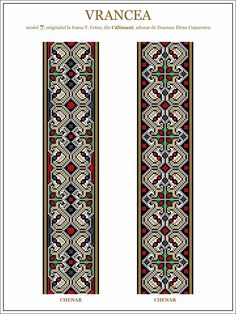 Semne Cusute: model de ie din Vrancea - embroidery patterns for the traditional… Folk Embroidery, Learn Embroidery, Embroidery Stitches, Embroidery Patterns, Cross Stitch Patterns, Machine Embroidery, Beading Patterns, Antique Quilts, Brick Stitch