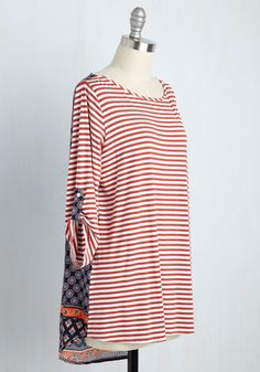 I Flaunt You Back Tunic in Red Stripes. Once you add this striped tunic to your wardrobe, youll wonder how you ever lived without it before! #red #modcloth