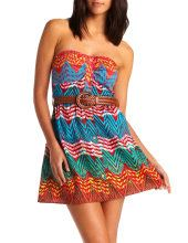 Belted Cotton Zigzag Dress -Charlotte Russe