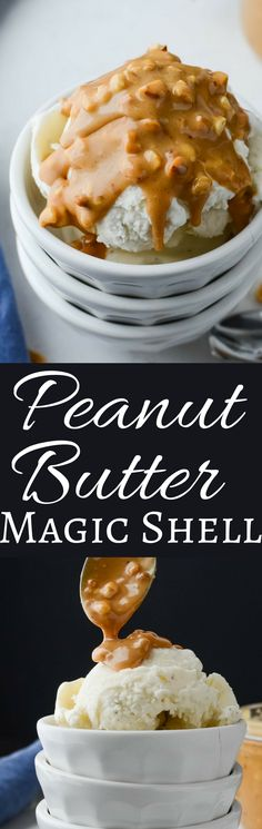 An easy 3 ingredient recipe for Peanut Butter Magic Shell only takes 5 minutes. Use creamy or crunchy peanut butter for a perfect homemade ice cream topping!