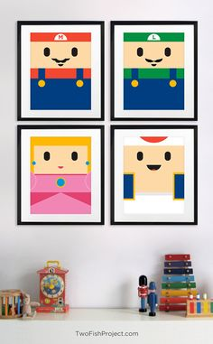 Nintendo Super Mario Bros posters (Mario, Luigi, Princess Peach and Toad) for Kids Room or Nursery by TwoFishProject. Awesome for old school video game lovers and their kids