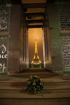 """Eiffel Tower and """"Peace"""" monument"""