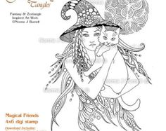 Miss Witch Original Fairy Tangles Coloring Page by FairyTangleArt