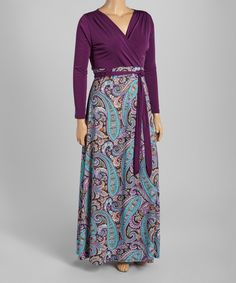 Look what I found on #zulily! Eggplant Paisley Surplice Maxi Dress - Plus by  #zulilyfinds