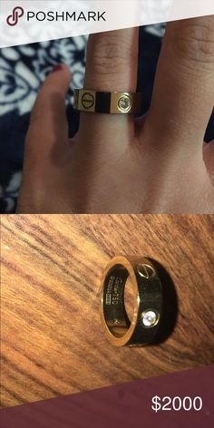 Cartier Love ring with stones Size 7 1/2 authentic Cartier love ring. 18K yellow gold set with 3 diamonds. 0.22 carat TW. Thicker band. No papers or box. Purchased from other posher. Doesn't fit the finger I was hoping to wear on. Cheaper price via 🅿️🅿️ Cartier Jewelry Rings