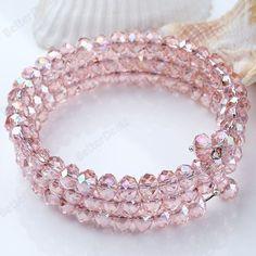 6mm Adjustable Pink Crystal Glass Bracelet Bangle 1pc