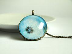 Dandelion pendant necklace blue - photo pendant necklace- blue green white - photo jewelry - glass dome pendant - botanical. $23.00, via Etsy.