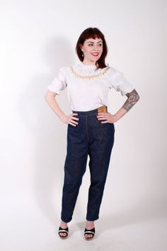 Vintage 1950s Blouse White Rayon Puff Sleeves 50s by stutterinmama, $42.00