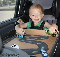 Homemade Race Track... Good idea for keeping kids busy while travelling on the road!