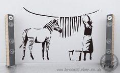 Banksy Zebra Stripes Wash Vinyl Wall Sticker 60cm x 90cm
