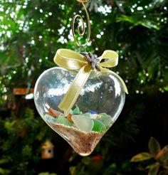 Sea Glass Ornament - Hawaiian Christmas decor with starfish, sand & seaglass