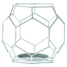 Light Blue Geometric Metal Candle Holder