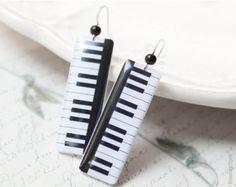 Piano key earrings - Music jewelry (E055)