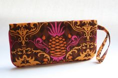 Wristlet Clutch Purse - Brown Pink Pineapples by LovelyTurtle, $22.00