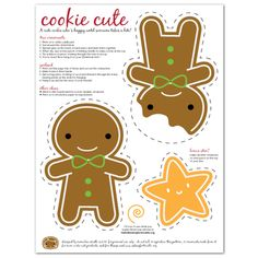 FREE printable kawaii gingerbread man Christmas decorations – Asking For Trouble