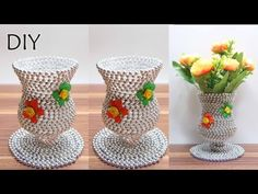 Creative Flower Vase from Plastic Bottles and CD Popsicle Stick Crafts, Craft Stick Crafts, Bead Crafts, Diy Crafts, Plastic Bottle Crafts, Diy Bottle, Plastic Bottles, Plastic Vase, Vase Crafts