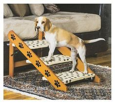 Home Dog Cat Convertible Pet Stairs Steps Step Bed Ladder Easy Ramp