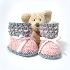 Chaussons bébé tricotés roses et gris 0/3 mois Tricotmuse : Mode Bébé par tricotmuse