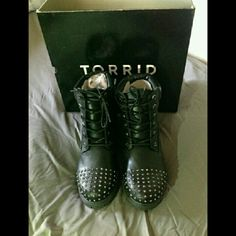 Torrid studded boots Stylish torrid stud combat boots brand new with tags size 11 . Will not be shipped in original box. #torrid #torridstudboots #torrid11 torrid Shoes Combat & Moto Boots