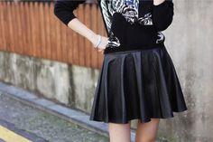 Faux-Leather A-Line Skirt #skirt #alineskirt #fauxleatherskirt