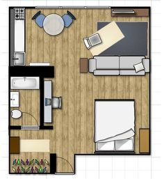 Small Space Lessons: Floorplan & Solutions from Liz's Light Off Lake Michigan: 360 sf Garage Apartments, Small Apartments, Small House Plans, House Floor Plans, Lake Michigan, Studio Apartment Layout, House Blueprints, Small Studio, Tiny Spaces