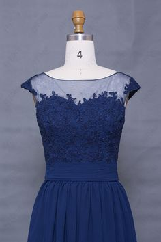 Lace modest navy blue prom dress cap sleeves long