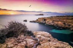 """Sunset at the west coast of Ibiza, with views to the cave of """"Sa Figuera Borda"""". This is one of my favorite landscapes of Ibiza even though everytime I go, there is something making the photo impossible, last time was a cloudy day and today a strong wind that made impossible to hold the camera without any vibration. In the end the shot didnt turn out so bad and I'm satisfied with the result. Atardecer en la costa oeste de Ibiza, con vistas a la cueva de """"Sa Figuera Borda"""". Este es uno…"""