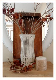 Easy DIY Fall Craft (Painted Distressed Glass Vase) - Fox Hollow Cottage
