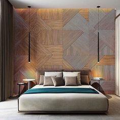 Projetos de decoração para quartos modernos com painel de madeira atrás da cama. Veja opções de painéis recortados, geométricos, ripados e com frisos.