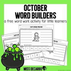 """This resource includes five pages of word work printables with a Halloween and October theme! Students cut out the letters to create words. They must also find the """"secret"""" word which uses all of the letters provided. The adorable picture on each page gives students a hint about the """"secret"""" word! :..."""