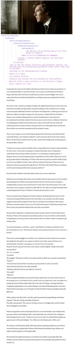 HP / Sherlock Fan Fic! AMAZING! I uploaded it as an image so its easier to read  (originally from http://randomsherlockian.tumblr.com/post/62749594579/shooting-stetsons-buttergin)
