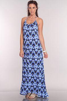 Royal Blue Multi Tribal Print Maxi Dress