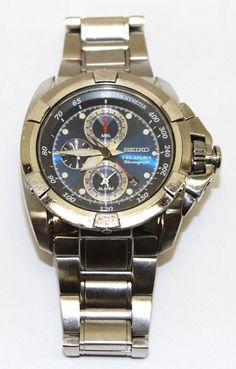 Seiko Velatura 7T62-0HD0 Alarm Chronograph Tachymetre Stainless Steel Watch  #Seiko #Casual