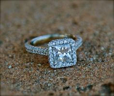 Princess cut 1ct Halo rings - both of the ring designs that I love in one ring - gorgeous