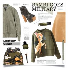 """Bambi Goes Military ..."" by marina-volaric ❤ liked on Polyvore featuring adidas, Valentino, Jeffrey Campbell, Byredo, Bobbi Brown Cosmetics, Urban Decay and Gogreen"