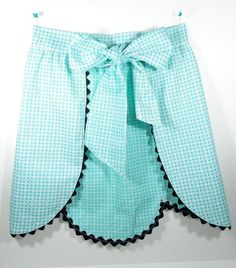 1950s Flower Petal Apron Vintage Kitchen Turquoise and White with Rick Rack | eBay