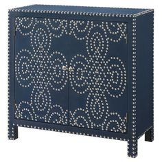 Perfect for stowing entertaining essentials in the dining room or vintage records in the den, this cabinet features a chic indigo hue and eye-catching nailhe...