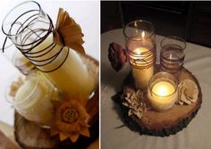 Love these rustic centerpieces