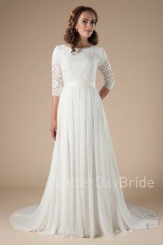long sleeved modest wedding dresses, the Haven at Latter Day Bride