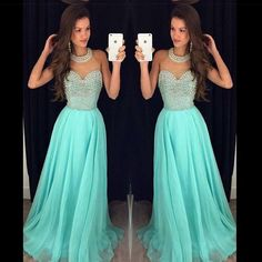 2016 Fancy New Blue Bling Jewel Neck Prom Dresses With Crystal Beading Pearls Chiffon Long Hollow Back Party Pageant Dress Evening Gowns Prom Shop Prom Short Dresses From Allanhu, $136.8| Dhgate.Com