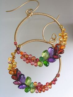 Gemstone Hoops, Prismatic Multi Gem Earrings, Gold Filled, Rainbow, Amethyst, Sapphire, Tsavorite, Original Design, Made to Order